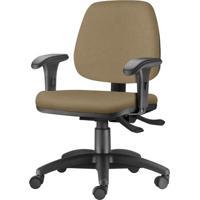 Cadeira Job Com Bracos Curvados Assento Courino Marrom Claro Base Rodizio Metalico Preto - 54620 - Sun House
