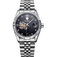 Relógio Tevise 8391A Masculino Automático Pulseira De Aço - Preto