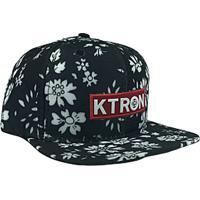 Boné Ktron Comp Snap Back Aba Reta Flores Brancas Preto