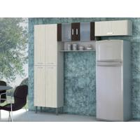 Cozinha Compacta Quartz 7 Portas Arena/Ébano - Kits Paraná