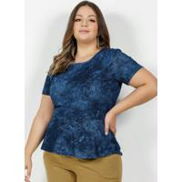 Blusa Tie Dye Azul Com Recortes Plus Size