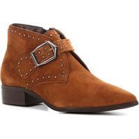 Bota Cano Curto Couro Shoestock Metal Feminina - Feminino-Caramelo