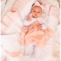 Saída De Maternidade Menina Carinhosa Sônia Enxovais Luxo Sofia Salmão