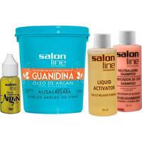 Creme De Relaxamento Salon Line Guanidina Óleo De Argan Para Cabelos Médios Ou Finos 218G +1 Shampoo Neutralizante 54Ml + 1 Líquido Activador 54Ml + 1