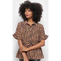 Blusa Top Moda Animal Print Zebra Amarração Feminina - Feminino-Marrom