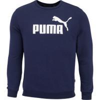 Blusão De Moletom Puma Ess Logo Crew Sweat Fl Big Logo - Masculino - Azul Escuro