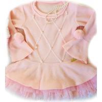 Vestido Tricot Yoyo Infantil Rosa Com Pérolas
