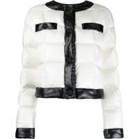 Escada Sport Contrast Trim Puffer Jacket - Branco