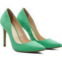 Scarpin Suede Feminino Salto Alto Bico Fino - Feminino-Verde