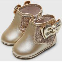Bota Pimpolho Infantil Glitter Dourada