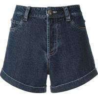 Andrea Bogosian Short Jeans Portland Pedrarias Bordadas - Azul