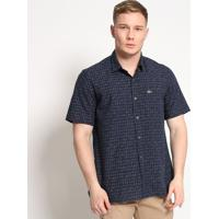 Camisa Slim Fit Geomã©Trica Com Bolso- Azul Marinho & Bralacoste