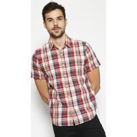 Camisa Xadrez Com Botãµes- Vermelha & Azul Marinholevis