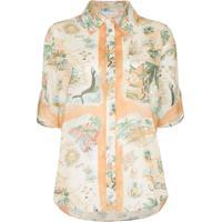 Zimmermann Camisa De Algodão Com Estampa De Mapa - Laranja