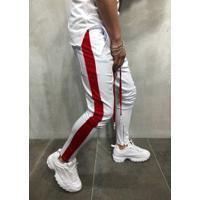 Calça Masculina Striped Slim Duas Cores - Branco E Vermelho