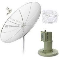 Antena Parabólica 1,50M, Lnbf Monoponto E Kit Cabos (Sem Receptor) - Cromus
