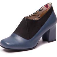 Sapato Azul Em Couro - Petroleo / Flex Preto 6013