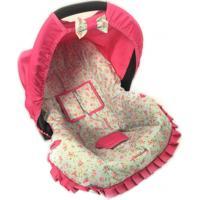 Capa Para Bebê Conforto Alan Pierre Baby 0 A 13 Kg Floral Azul Com Rosa