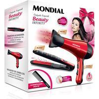 Kit Mondial Especial Beauty Infinity Secador + Prancha Kt-44 127V - Feminino-Preto+Vermelho