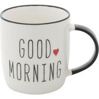 "Caneca De Porcelana ""Good Morning""- Branca & Preta- Urban"