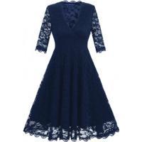 Vestido De Renda Com Saia Rodada E Manga Curta - Azul