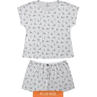 Pijama Mescla Plus Size Zebras Em Viscose