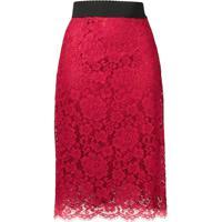 Dolce & Gabbana Saia Lápis De Renda - Vermelho