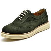 Sapato Oxford Casual Conforto Camurça Verde Militar