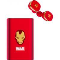 Fone De Ouvido Bluetooth E Bateria Móvel Vingadores - Homem De Ferro