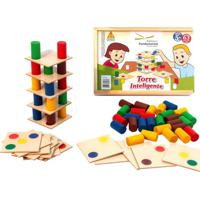 Brinquedo Educativo Torre Inteligente - 18 Placas E 45 S Tam. 4,5Cm. Cada Editora Fundamental Azul - Kanui