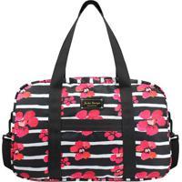 Bolsa De Viagem Com Estampa Floral - Preta & Rosa - Jacki Design