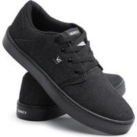 Tênis Sneaker Casual Conforto Cano Baixo Dia A Dia Masculino - Masculino-Preto