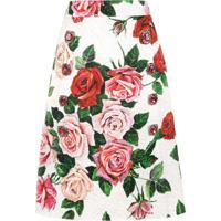 Dolce & Gabbana Saia Midi Floral - Branco