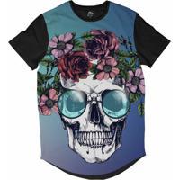 Camiseta Bsc Longline Caveira Coroa De Flores Sublimada Preta Azul