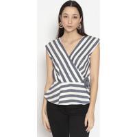 Blusa Listrada Com Transpasse- Branca & Azul Escuro-Vip Reserva