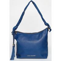 Bolsa Em Couro Com Barbicachos- Azul Escuro- 31X40X1Jorge Bischoff