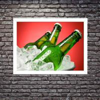 Quadro Decorativo Garagem Balde De Cerveja Gelada Branco - Grande