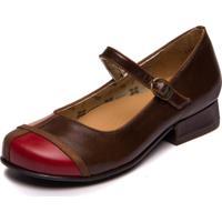 Sapato Mzq Boneca Chocolate / Taupe / Amora / Sued Flex Capuccino - Mary 7720