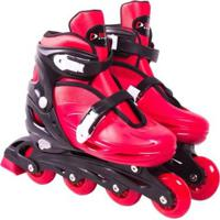 Patins Roller In-Line Radical Ajustável - Unissex-Vermelho