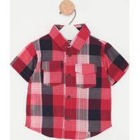 Camisa Xadrez Com Bolsos- Vermelha & Azul Marinhogreen