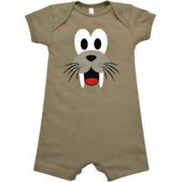 Macacão Curto Bebê Leão Marinho Nigambi Masculino - Masculino-Marrom