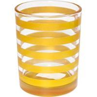 Vaso Listrado- Incolor & Dourado- 11,5Xã˜9,5Cm- Ccelebrar