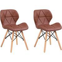 Conjunto Com 2 Cadeiras Tulipa Eiffel Marrom Whisky
