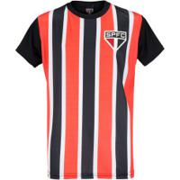 Camiseta Do São Paulo 19 Listrado - Infantil - Vermelho/Preto