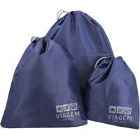 Kit Organizador De Malas- Azul Escuro & Cinza Claro-Jacki Design