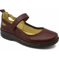 Sapato Feminino 364 Em Couro Doctor Shoes - Feminino-Bordô