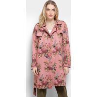 Casaco Sobretudo Lily Fashion Trench Coat Estampado Feminina - Feminino