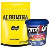 Albumina - 500G + Pasta De Amendoim 1005G - Power One - Unissex-Chocolate