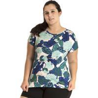 Blusa Konciny Viscose Plus Size Colorido Azul