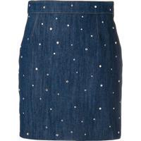 Miu Miu Minissaia Jeans Com Aplicação - Azul